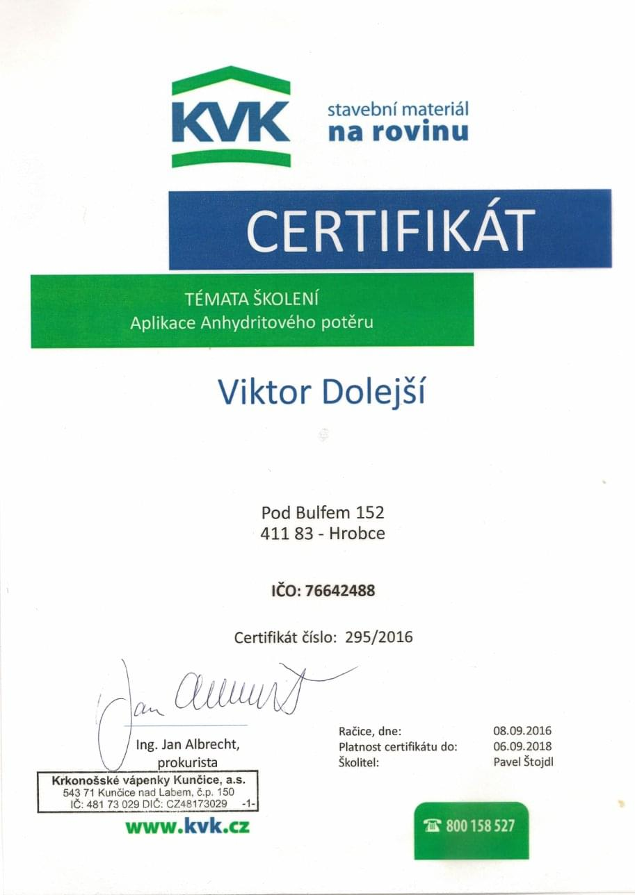 KVK Certifikát